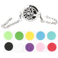Wholesale tree of life mm Magnet Aromatherapy Essential Oils Stainless Steel Perfume Diffuser Locket bracelet length8 quot include felt pads