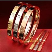 Wholesale New fashion crews never lose style silver k rose gold L stainless steel forever lovers screw bangle bracelet with screwdriver
