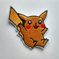Wholesale Yellow Pikachu Embroidery Applique Iron On Sew On Patch Cartoon Dress Patch Costume Decoration High Quality