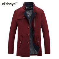 Wholesale Fall top quality khaki navy blue wine red long trench coat men M XL mens overcoat long jacket men manteau homme