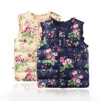 baby overcoat - 2016 Winter Toddler Kids Floral Print Vests Winter Waistcoat Thick Warm Vest Sleeveless Cotton Padded Overcoat Baby Boys Girls Coat C1416