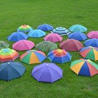 Wholesale 100Pcs Foldable Headwear Sun Umbrella Fishing Hiking Beach Camping Headwear Cap Head Hats Outdoor Sport Umbrella Hat Cap Random Color
