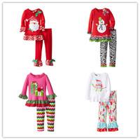 Wholesale Long Pajama Dress - 2016 New Girls Christmas horn sleeves Pajamas Suit Xmas pajama 2pc sets long sleeve skirt top+zebra stripe pants Kids cute home dress