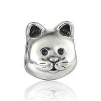 Wholesale Animal cat charms pet S925 sterling silver fits for pandora style charms bracelets LW553