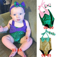 Wholesale New Arrivals Girl s Baby Toddler Kids Swimwear One Piece Swimsuit Bow Headband Beach Supplies Spandex Fashion KA384