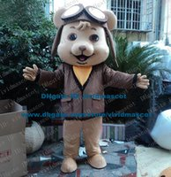 aviator size - Adorable Brown Aviator Dog Pilot Puppy Flier Pup Doggie Mascot Costume Cartoon Character Mascotte Adult Yellow Scarf NO FS