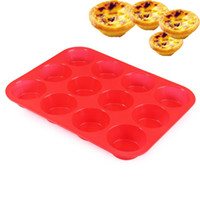 Wholesale 12 Cups Non stick Silicone Mini Muffin Cupcake Baking Pans Red Cavity Soap Tray Mold cake tins baking equipment lt no tracking