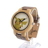 belts com - 100 wooden watches Bambu De Madeira Rostos Coloridos Projeto Brinquedos Pikachu Ícone Relógio para Homens com Pulseira De Couro Marrom