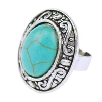 antique oval engagement rings - 2016 Vintage Bohemian Oval Turquoise Ring For Women Antique Silver Alloy Carved Ring Fashion Jewelry
