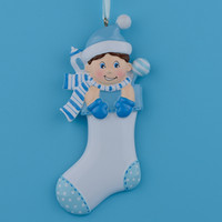 Wholesale Baby Boy Girl Speckled Stocking Resin Craft Personalized Lover Baby First Gifts Christmas Ornament Souvenirs With Scarf Milk Bottle Glitter