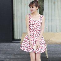Wholesale The summer new fashion joker sweet cherry printing condole belt vest skirt Dress