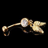 Wholesale New Arrival Fashion Body Jewelry Stainless Steel Golden Wings Dangle Jewelled Navel Belly Ring Drop Shipping Body