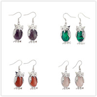 Wholesale 2016 Natural Crystal Stone Owl Dangle Earrings Fashion Vintage Gemstone Rock Crystal Quartz Healing Charms Earings for women Silver ES A008