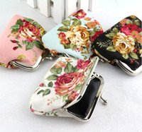 Wholesale 2016 Fashion Hot selling Vintage flower coin purse canvas key holder wallet hasp small gifts bag clutch handbag