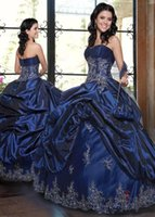 beaded ball pattern - Navy Blue Quinceanera Dresses Ball Gowns Strapless Corset Satin Masquerade Lace Up Ruffles with Lace Appliques Girls Pageant Gowns