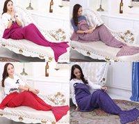 cheap sofa - Cheap Mermaid Blankets Soft Hand Crocheted Cartoon Sofa Throw Blanket Air Condition Blanket Sleeping Bags Siesta Blanket