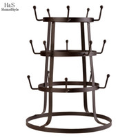 Wholesale Homestyle Tree Storage Rack Stand Iron Mug Cup Glass Bottle Organizer Bottle Holder Rustic Vintage Style Brown