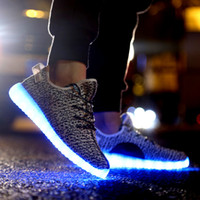 Wholesale 2016 LED luminous unisex men women Casual USB charging light shoes colorful glowing flat shoes black colors