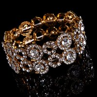 Wholesale Vintage Gold Crystal Bracelets Bangles Party Jewelry Wedding Accessories