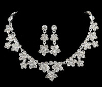 Wholesale 2016 Modest Bridal Jewelry Rhinestone Crystal Luxury Necklace Earring Jewelry Set For Wedding Party Evening Cheap In Stock