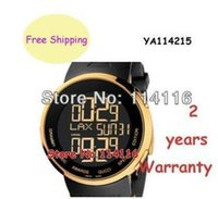 analogue box - New Special Edition Digital Analogue Gold Case Black Rubber quartz Men s Watch YA114215 YA Ditital Wristwatch box