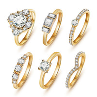 Wholesale set Hot Shiny K Gold Crystal Austrian Zircon Rings Set Noble Charms Wedding Rings For Women Girls Sapphire Jewelry