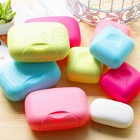 Wholesale LLA243 Mini Travel Hiking Plastic Soap Dish Box Holder Case Container With Cover Bath Wash Shower Home Bathroom Accessories