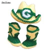 baby football boots - Newborn Green Bay Costume Handmade Knit Crochet Baby Boy Girl Cowboys Football Team Hat and Boots Set Infant Toddler Photography Props