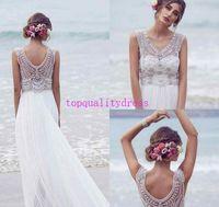 Wholesale Hot nice Anna Campbell Wedding Dresses Beading Crystals Sleeveless Chiffon Beach Wedding Gowns Floor Length Luxury Boho Bridal Dress