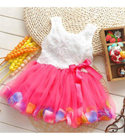 Wholesale babies clothes Princess girls flower dress D rose flower baby girl tutu dress with colorful petal lace dress Bubble Skirt baby clothes K150
