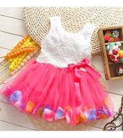 al por mayor vestidos de tutú de colores-Ropa de los bebés niñas vestido de la princesa de la flor 3D se levantó el vestido del bebé del tutú de la flor con colorido vestido de la falda de la burbuja del cordón ropa de bebé K150 pétalo