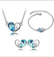 Wholesale Hot Selling New Pendant necklaces stud earrings bracelet sets Austrian crystal jewelry sets K plated Wedding gift of women P0125