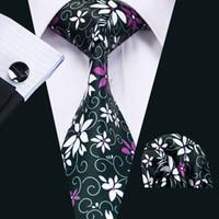 active purple flowers - Mens Printed Ties Purple White Flower Pattern Black Business Wedding Silk Tie Set Include Tie Cufflinks Hankerchief Freeshipping N