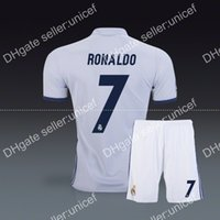 Wholesale Cristiano Ronaldo madrid home white soccer jersey with short football uniforms top quality kits