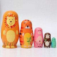 babushka fashion - 5Pcs set Wooden Russian Hand Painted Nesting Dolls Set Cute Cartoon Animal Russian Nesting Babushka Matryoshka Toys Xmas Gift