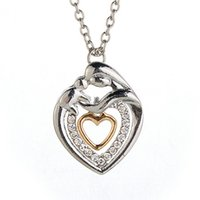 baby gifts silver chain - Mom And Baby Necklace Mother s Day Gift Mother Mum Son Daughter Child Crystal Rhinestone Heart Shaped Pendant Necklace For Women