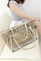 Wholesale New Top Quality Women Transparent Big Shoulder Bags Waterproof Chain Jelly Hand Bag Beach Shopping Handbag Composite Bag