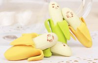 Wholesale Yellow Green Banana Fruit Rubber Pencil Eraser School Student Stationery Toy Brand New Good quality Hot sales
