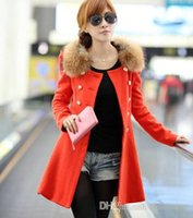 beautiful fur coats - 2016 New South Korean women slim long coat beautiful female double breasted fur collar wool coat color skirt