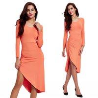 asymetric dress - Orange Autumn Bodycon Split High Side Casual Women Dresses Asymetric Tea Length Long Sleeves Sexy Sheath Cheap Lady Dresses For Women FS0344