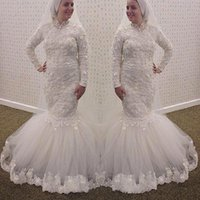 Wholesale 2016 Modest Arabic Muslim Mermaid Wedding Dresses Lace Appliques High Neck Bridal Gown Long Sleeves Aso Ebi Style African Traditional BA1350