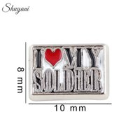 Other army necklace - Army Soldier Floating Locket Charms for Living Memory Locket Necklaces Enamel Letter DIY Bracelet Silver Plated