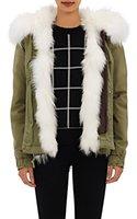 arctic white fox - seeyou2015 Mr Mrs Italy Women Canvas Jacket Real arctic Fox fur Liner Ladies Mini Parka with hood