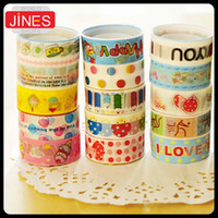 adhesive gift tags - Retail Cartoon Cute Tape Single Side Tape Office Adhesive Tape Decoration Stationery Tape Date Tag Bookmark Gift