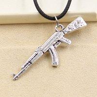 ak factory - 12pcs New Fashion Tibetan Silver Pendant gun AK mm Necklace Choker Charm Black Leather Cord Factory Price Handmade Jewlery