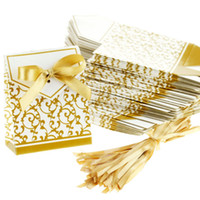 anniversary favours - Gold Wedding Favour Favor Sweet Cake Gift Candy Boxes Bags Anniversary Party