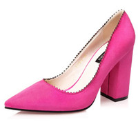 aa designs - The new design womens fashion Pointed Toe Suede heeled shoes sexy heeled shoes thick heels woman heeled shoes