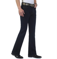 bell bottoms - Mens Blue Black Jeans Plus Size to Jeane Flare Bell Bottom Flare Boot Cut leg Slightly Pants Trousers For Men