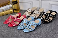 beach sandals original - F original brand designer women lady newest comfortable leather cutout summer sandal slippers low thick heel shoes F90