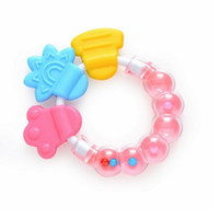 Wholesale cartoon Baby Rattles Mobiles toy silicone soft teether noise maker can bite gift for kids